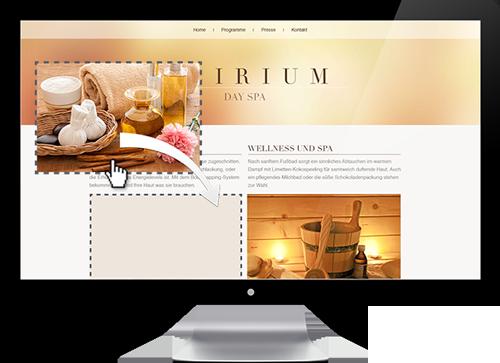 Benutzeroberfläche Homepage Baukasten
