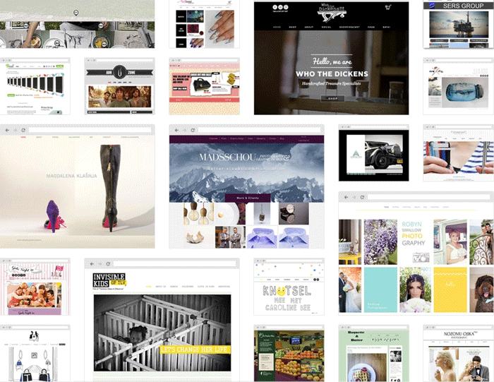 Auswahl Vorlagen Homepage Baukasten