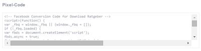 Facebook Pixel Code für Conversion Tracking