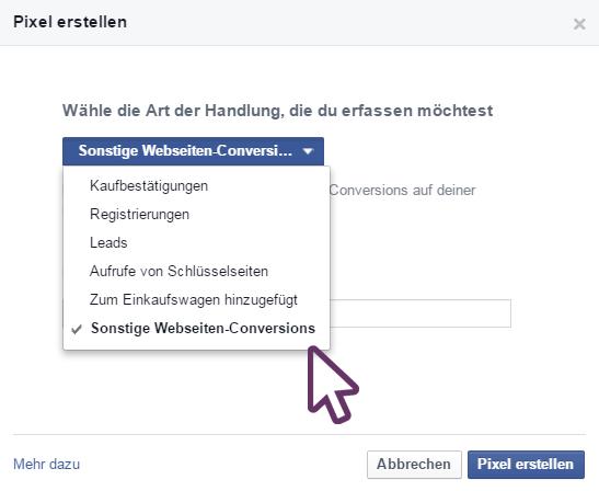 Facebook Conversion Pixel erstellen