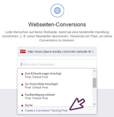 Facebook Conversion Tracking Code erstellen