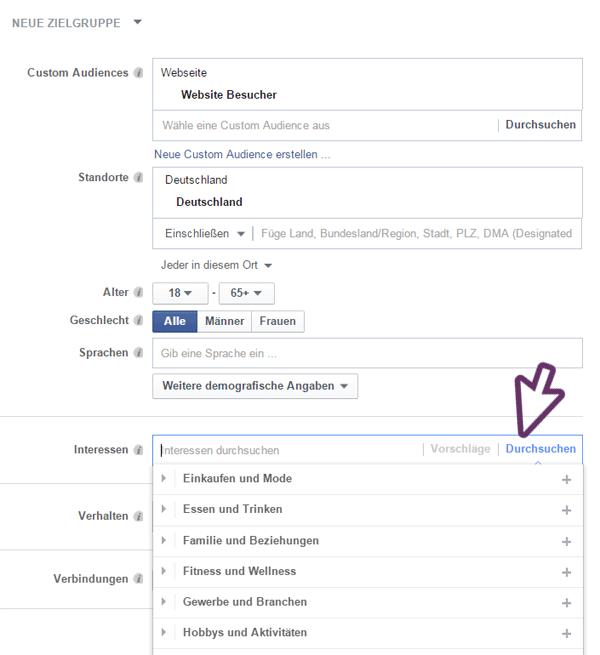 Zielgruppenbestimmung Facebook Anzeige