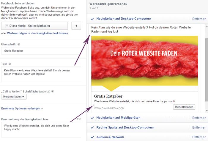 Gestaltung Facebook Werbeanzeige